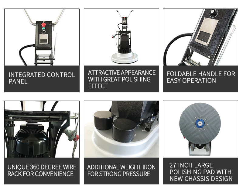 Powerful floor surface polishing machine
